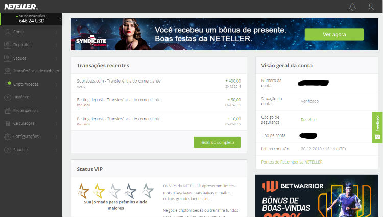 Home page do Neteller em 2019